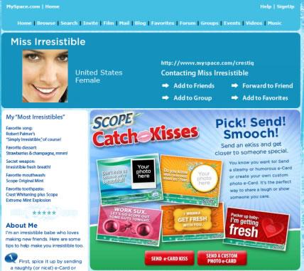 Miss Irresistible Crest Myspace