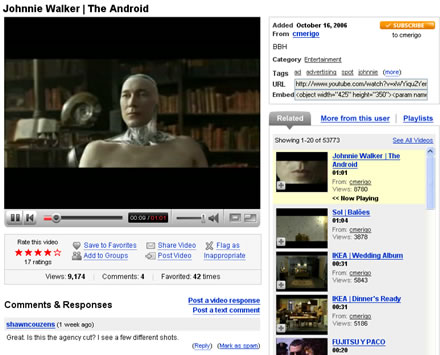 YouTube The Android Video Johnnie Walker