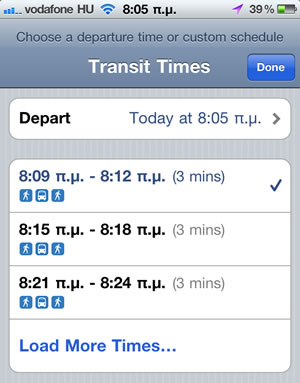 Google Maps With Public Transportation Schedules On iPhone